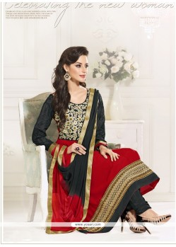 Beauteous Black And Red Georgette Anarkali Suit