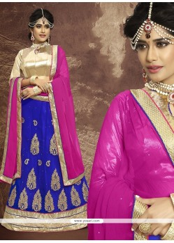 Glamorous Blue Embroidered Work Faux Chiffon A Line Lehenga Choli