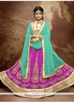 Praiseworthy Faux Chiffon Patch Border Work A Line Lehenga Choli