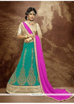 Adorning Patch Border Work Sea Green A Line Lehenga Choli