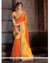 Tempting Georgette Orange Embroidered Work Classic Saree