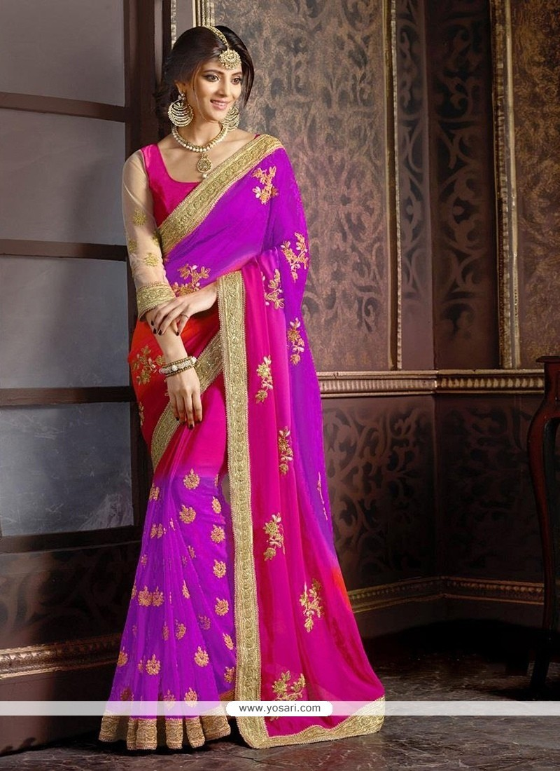 Specialised Georgette Patch Border Work Classic Saree