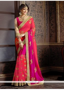 Stunning Patch Border Work Hot Pink Trendy Saree
