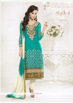 Sea Green Embroidery Work Churidar Salwar Kameez