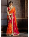 Glossy Orange Georgette Classic Designer Saree
