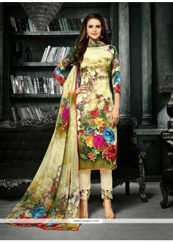 Fashionable Print Work Multi Colour Crepe Silk Churidar Designer Suit
