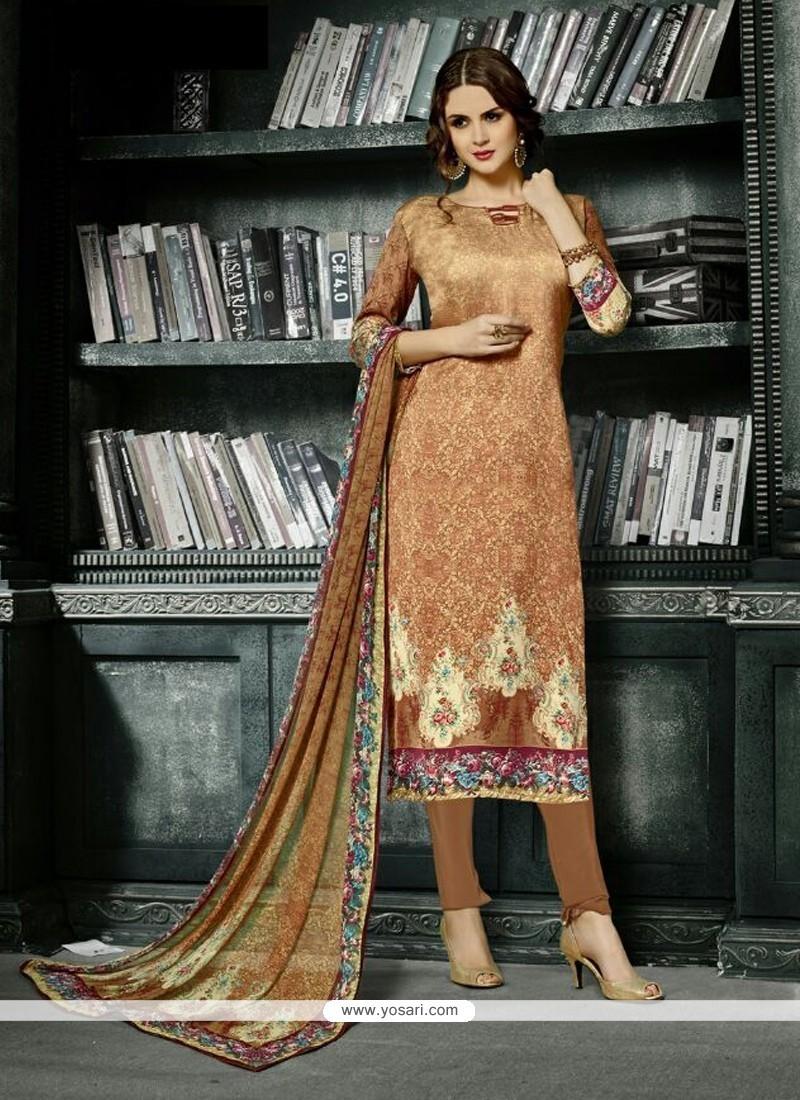 Perfect Beige Print Work Crepe Silk Churidar Designer Suit