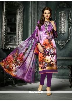 Amazing Purple Print Work Crepe Silk Churidar Designer Suit