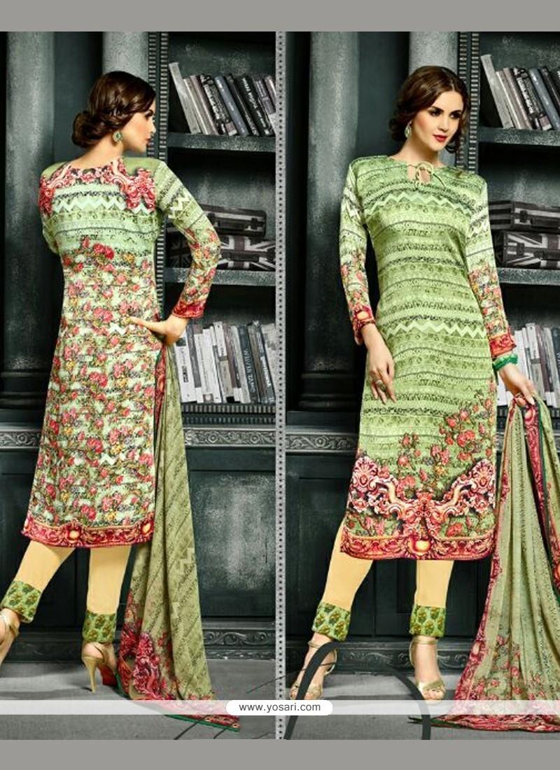 Elite Print Work Green Churidar Designer Suit