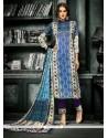 Print Crepe Silk Churidar Designer Suit In Blue