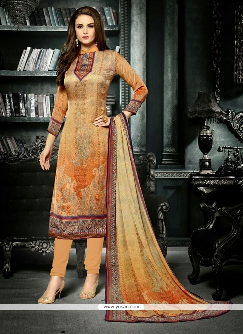 Intricate Crepe Silk Print Work Churidar Designer Suit