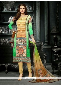 Lovely Green And Yellow Churidar Designer Suit