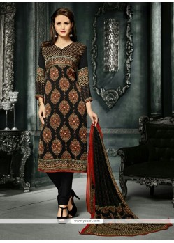 Spectacular Print Work Crepe Silk Black Churidar Designer Suit