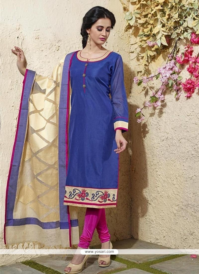 Praiseworthy Blue Chanderi Cotton Readymade Suit