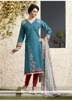 Auspicious Lace Work Blue Readymade Suit