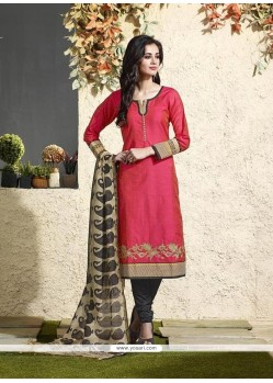 Pleasing Lace Work Hot Pink Chanderi Cotton Readymade Suit