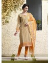 Adorable Chanderi Cotton Beige Lace Work Readymade Suit