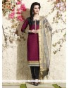 Flawless Lace Work Magenta Chanderi Cotton Readymade Suit