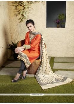 Exotic Chanderi Cotton Orange Lace Work Readymade Suit