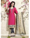 Titillating Lace Work Hot Pink Readymade Suit