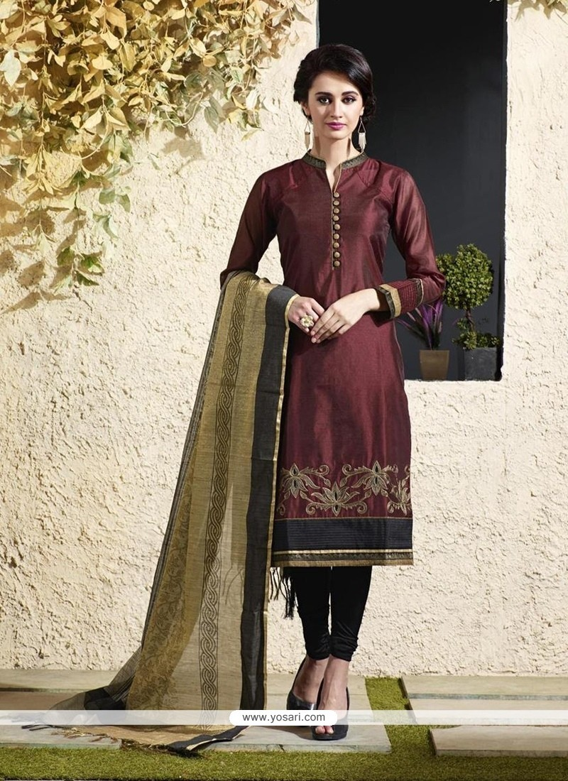 Sonorous Maroon Chanderi Cotton Readymade Suit
