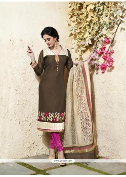 Dazzling Chanderi Cotton Brown Readymade Suit