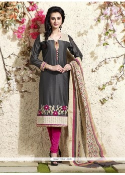 Sterling Grey Lace Work Readymade Suit