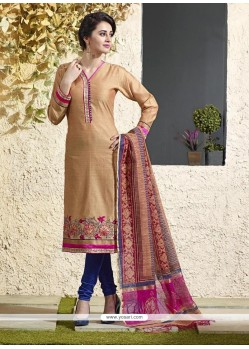 Dilettante Chanderi Cotton Embroidered Work Readymade Suit