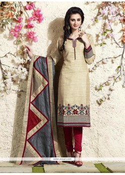 Majesty Cream Lace Work Readymade Suit