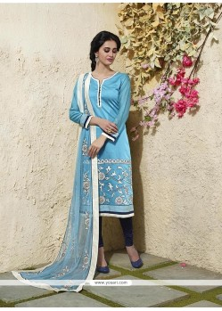 Immaculate Turquoise Lace Work Chanderi Cotton Readymade Suit