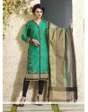 Snazzy Sea Green Chanderi Cotton Readymade Suit