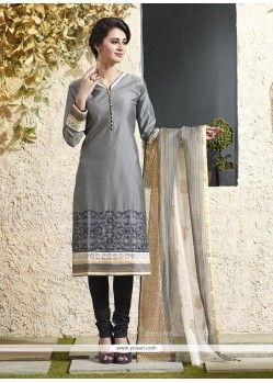 Perfect Grey Chanderi Cotton Readymade Suit