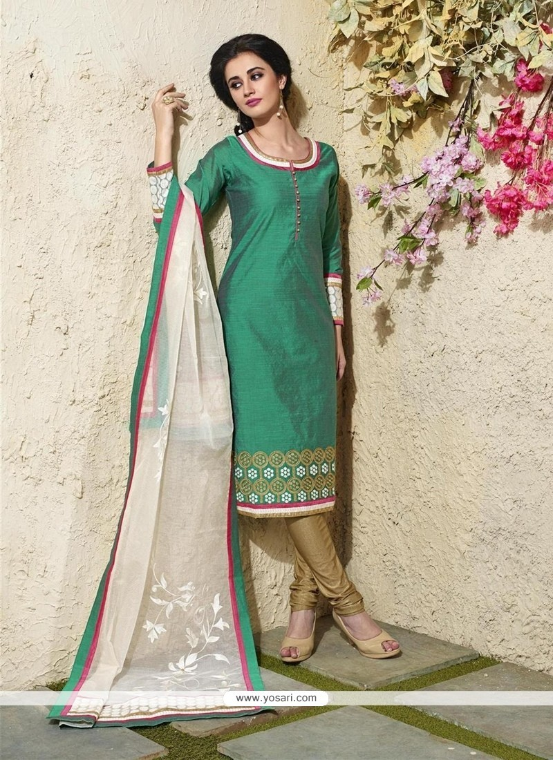 Dignified Lace Work Sea Green Readymade Suit