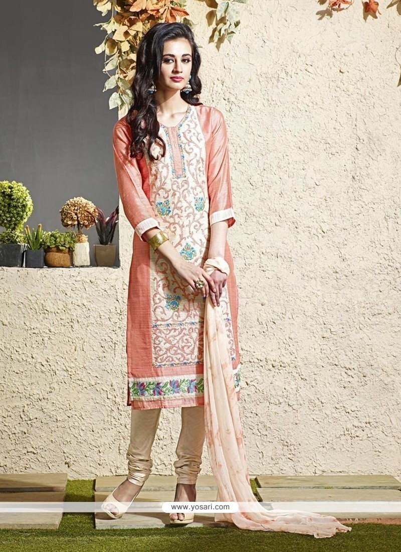 Majesty Lace Work Chanderi Cream Readymade Suit
