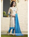 Absorbing Lace Work Chanderi Cotton Readymade Suit