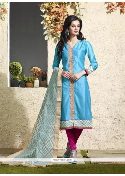 Modern Turquoise Lace Work Readymade Suit