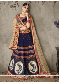 Peppy Silk Navy Blue A Line Lehenga Choli