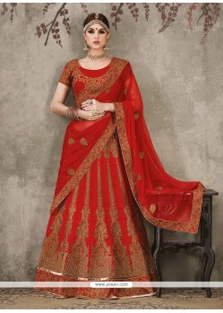 Aspiring Red Patch Border Work Silk A Line Lehenga Choli