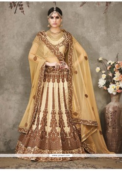Glossy Silk Embroidered Work A Line Lehenga Choli