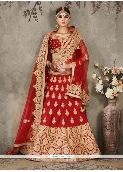Miraculous Red Silk A Line Lehenga Choli