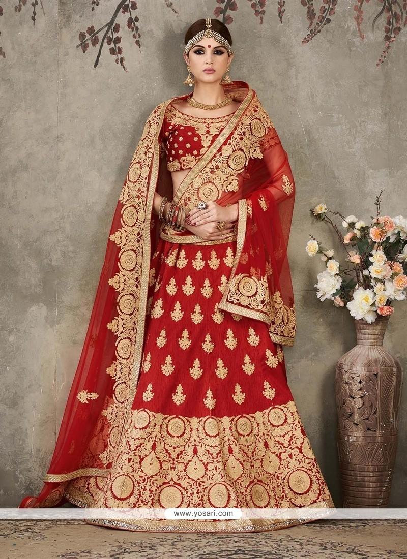 Miraculous Red Silk A Line Lehenga Choli