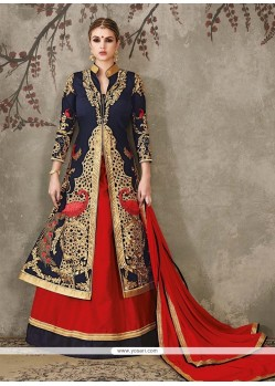 Cute Navy Blue And Red Silk A Line Lehenga Choli