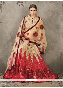 Beckoning Net Beige And Red Embroidered Work A Line Lehenga Choli