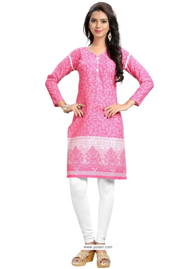 Lively Cotton Print Work Party Wear Kurti