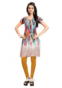 Noble Cotton Multi Colour Print Work Party Wear Kurti