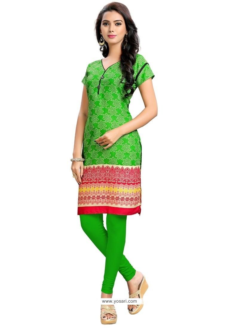 Topnotch Cotton Green Party Wear Kurti
