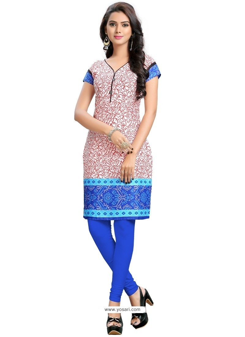 Thrilling Print Work Multi Colour Cotton Party Wear Kurti