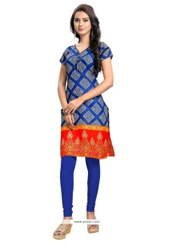 Stupendous Print Work Blue Party Wear Kurti