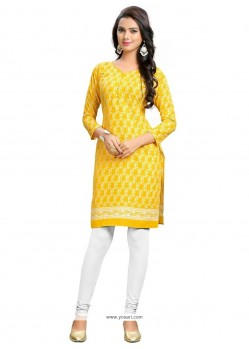 Precious Cotton Yellow Party Wear Kurti