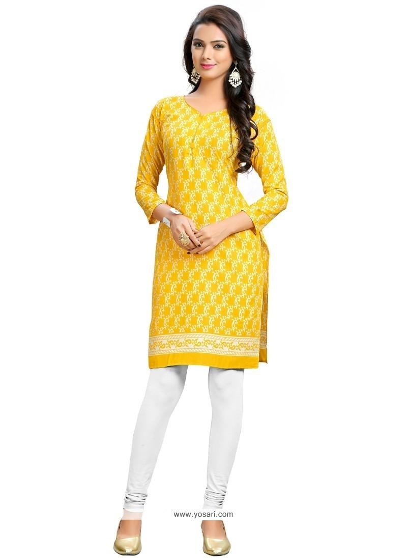 Precious Cotton Yellow Party Wear Kurti
